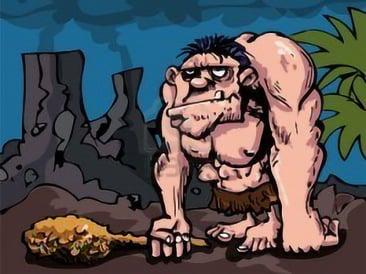 Cartoon stereotying Cavemen as brutish, dumb, knuckle-dragging, and club wielding