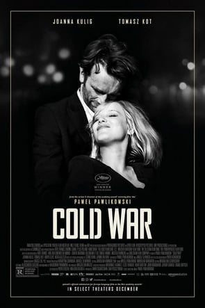 Poster for the film 'Cold War' depicting man and woman hugging
