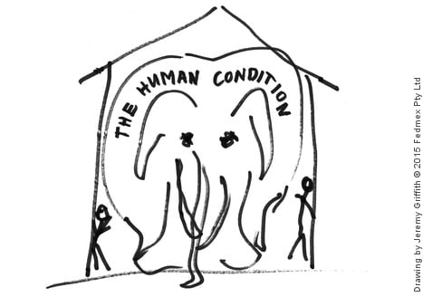 Drawing by Jeremy Griffith of an elephant marked 'the human condition' completely filling the living room of a house.