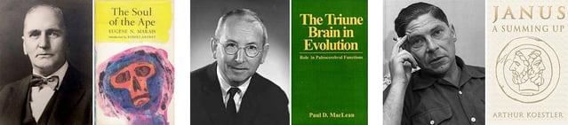 Eugene Marais, Paul Maclean, Arthur Koestler beside covers of their books