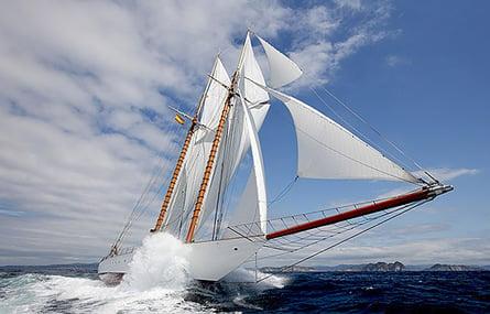 Yacht sailing across ocean
