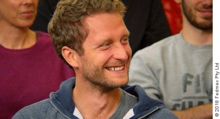 WTM member Stefan Rossler at a 2018 WTM presentation