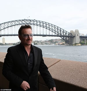 Bono in front of Sydney Harbour Bridge