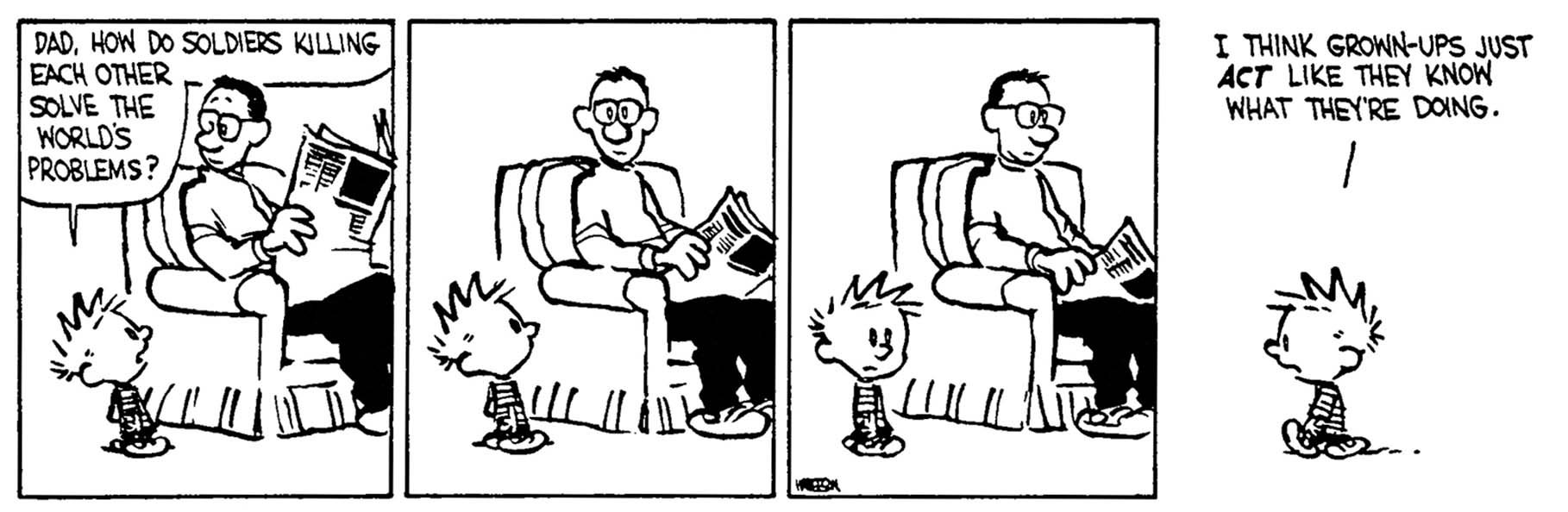 Calvin and Hobbs cartoon - Adults don't know
