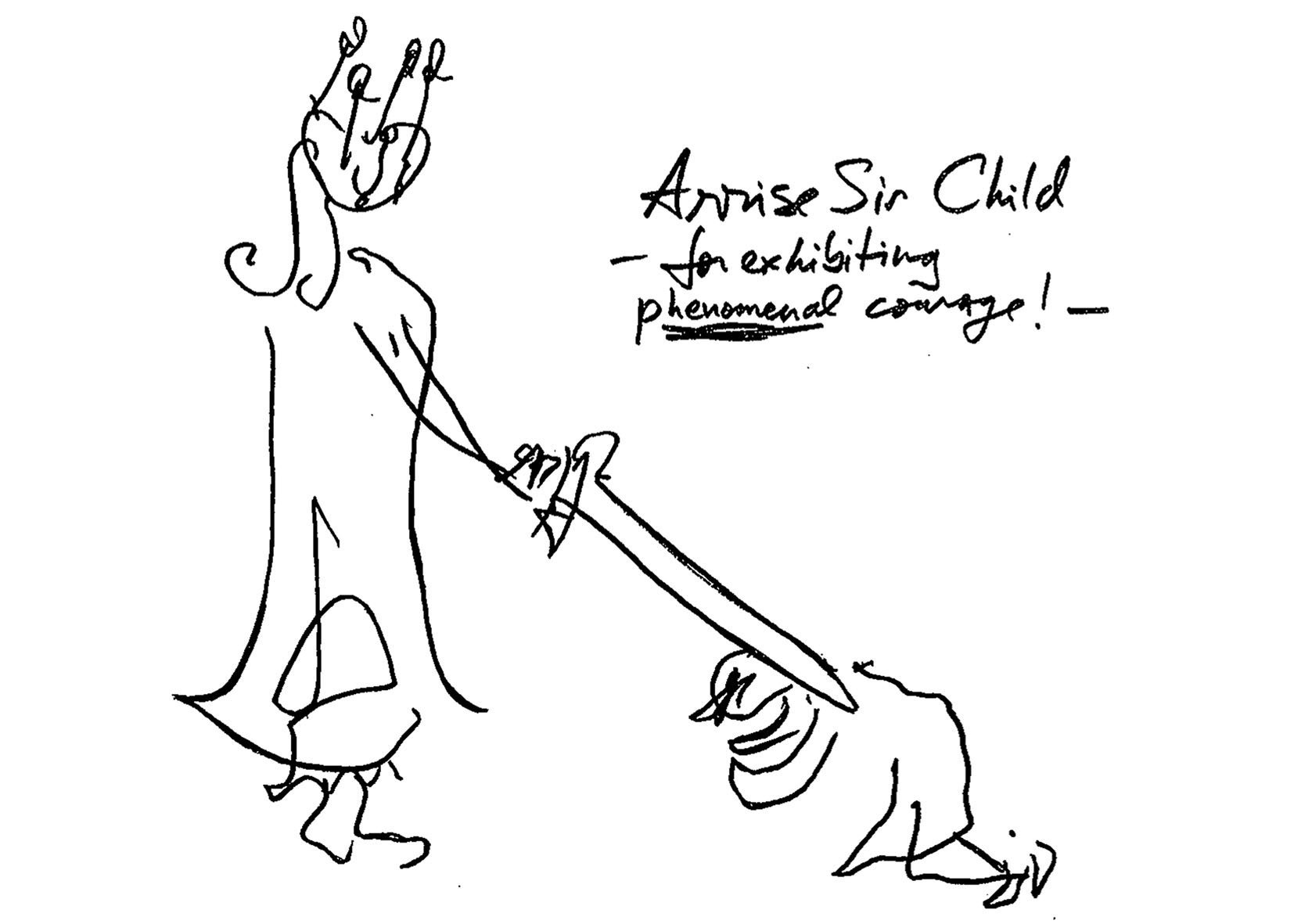Jeremy Griffith's drawing of a child being knighted for exhibiting phenomenal courage