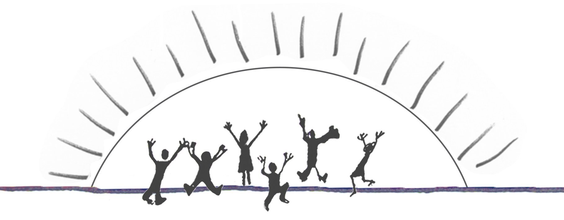 Drawing of people in front of a rising sun