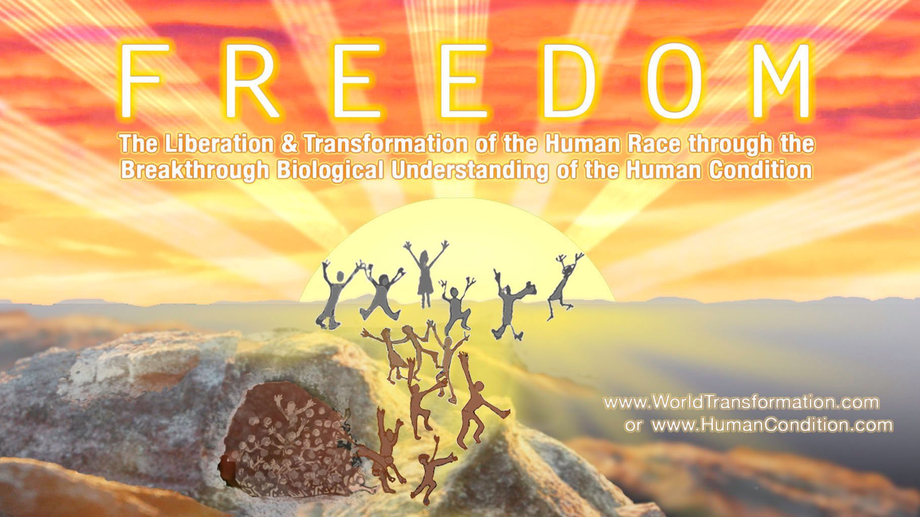 The WTM's FREEDOM poster showing people running out of a dark cave towards a radiant sunrise