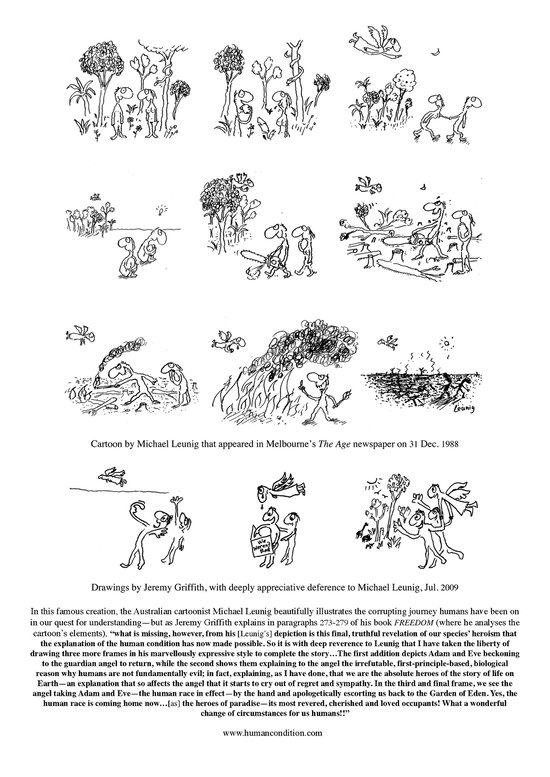 Leunig's 'Garden of Eden' cartoon with Jeremy Griffith's concluding frames