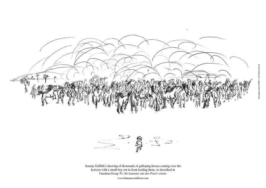 Jeremy Griffith's drawing of a boy leading a thousand galloping horses