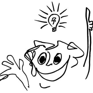 Cartoon by Jeremy Griffith of a person with a lightbulb above his head