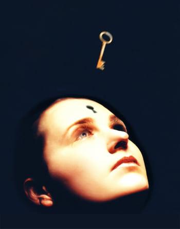 Key Unlocking the Mind illustration by Matt Mahurin for 'Time', Nov. 29 1993