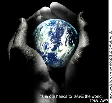 It is in our hands to save the world - hands holding a globe