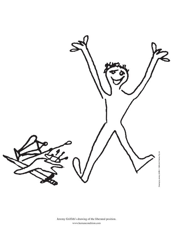 Jeremy Griffith's drawing of person with arms raised in excitement and trophies discarded in a pile