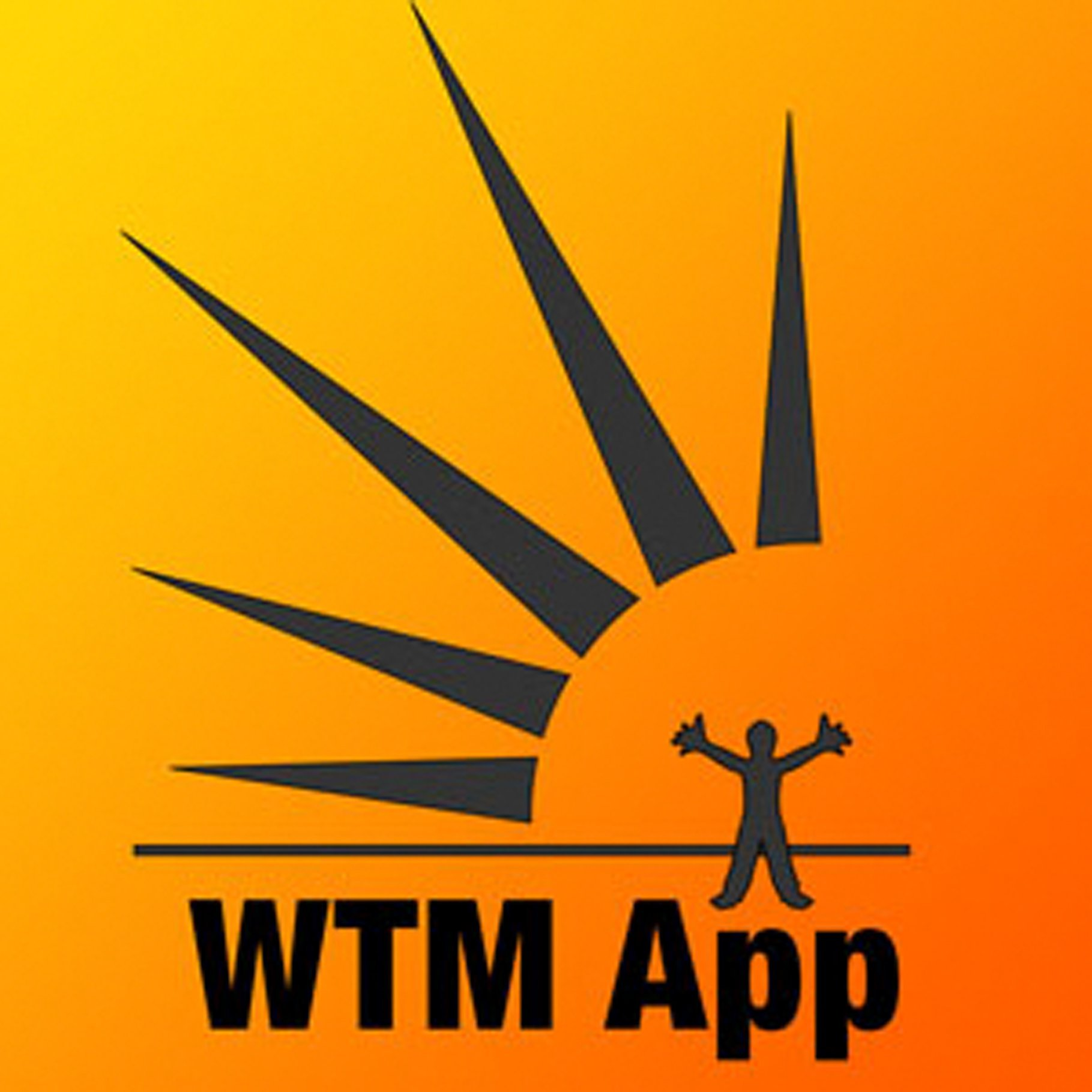 Person with arms outstretched in front of sun and text reading WTM App.
