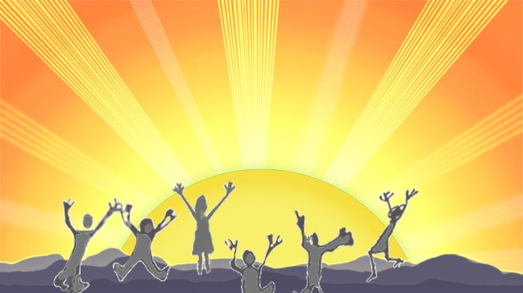Computer graphic of people greeting the rising sun with outstretched arms