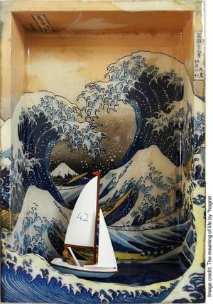'The Meaning of Life' painting referencing Katsushika Hokusai's 'Under the Wave Off Kanagawa'