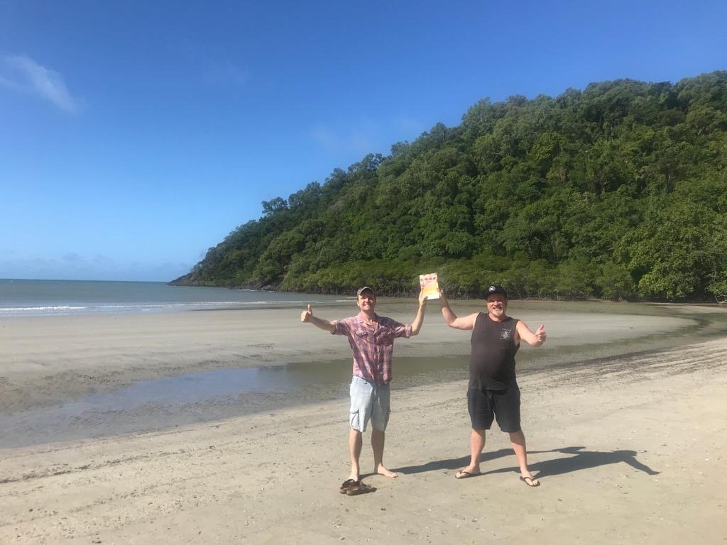 WTM members Connor FitzGerald and Joseph Ahie with FREEDOM in north Qld