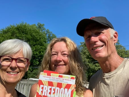 Karen Riley with Bill and Cindy McCaugherty