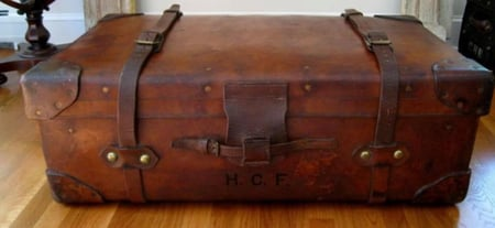 Leather suitcase with HCF inscription